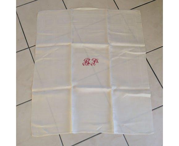 Lot de 14 serviettes blanches et anciennes avec initiales rouges