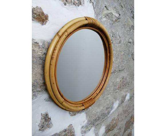 Round bamboo mirror 36x36cm