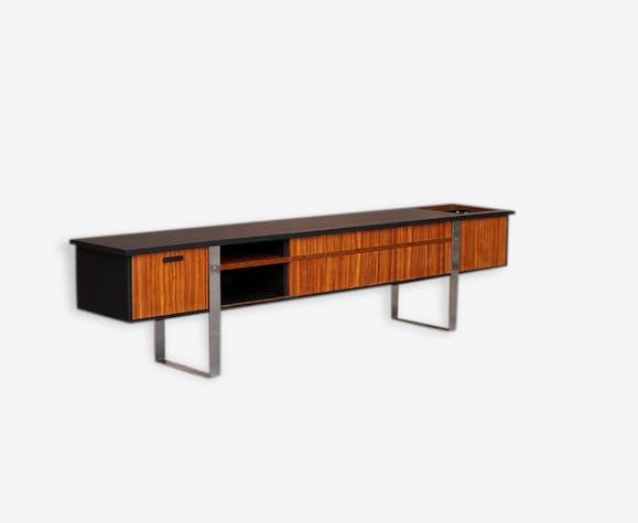 Enfilade, vinyle, meuble tv vintage scandinave en teck - teck - noir ...