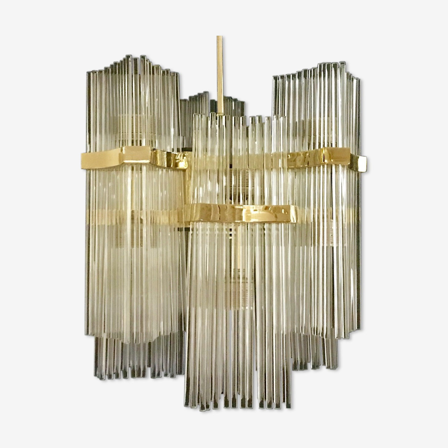 Glass chandelier with gilding France 1960