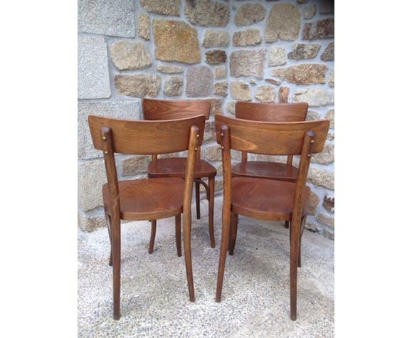 Set de 4 chaises bistrot Thonet en bois courbé