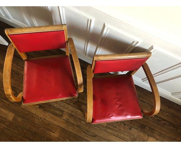 Deux fauteuils Bridge pieds compas années 1960