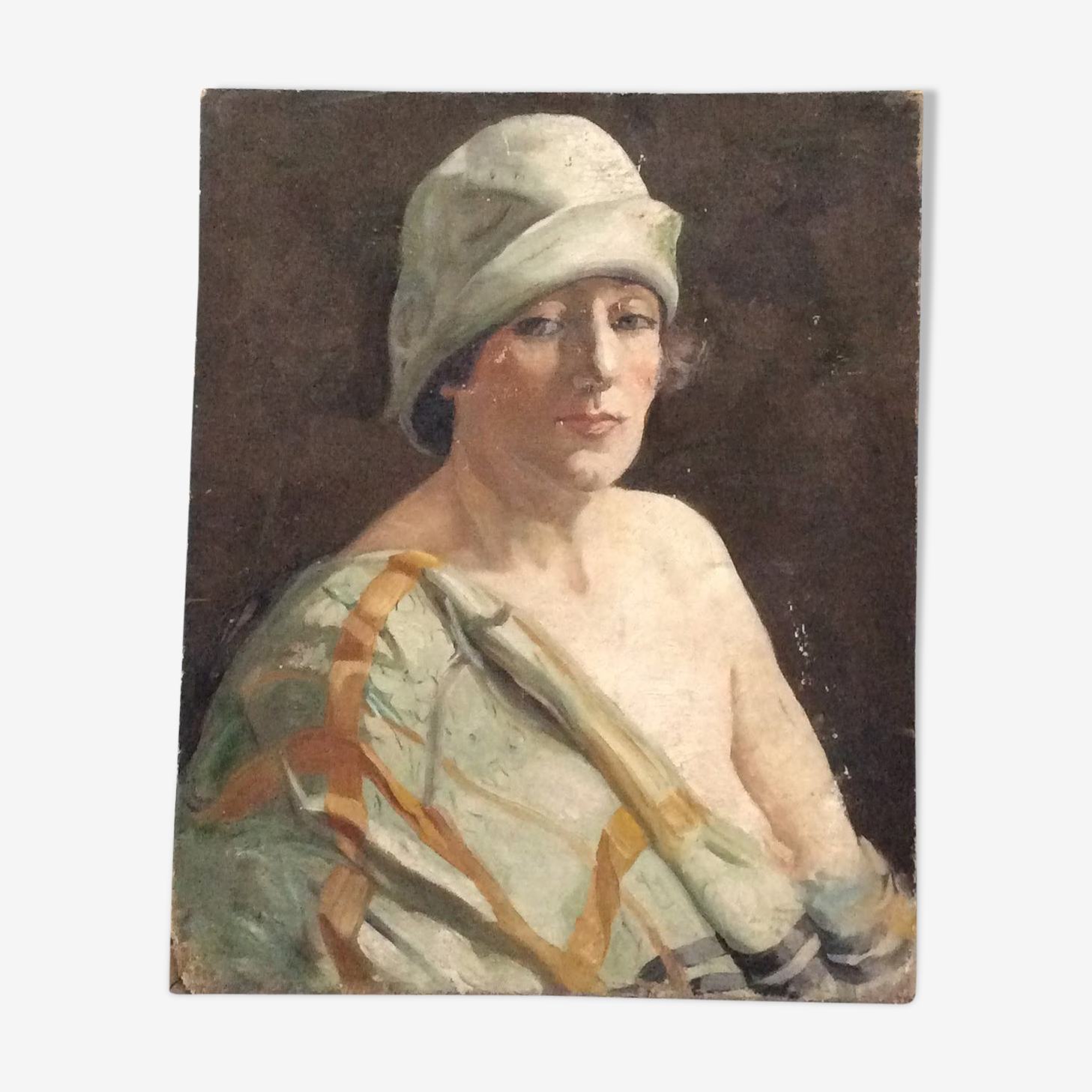 Oil on canvas - woman in hat