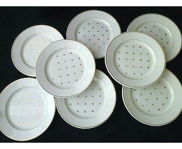 Set de 8 assiettes à dessert en demi porcelaine de Lunéville modèle Sylvie