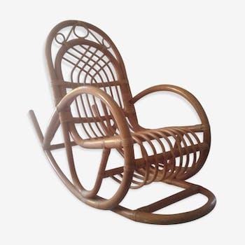 fauteuil en osier rotin et osier marron vintage. Black Bedroom Furniture Sets. Home Design Ideas