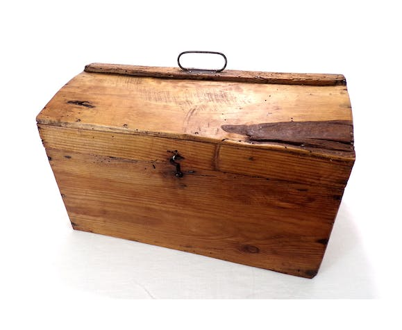 Rare old trunk chest with vintage handle