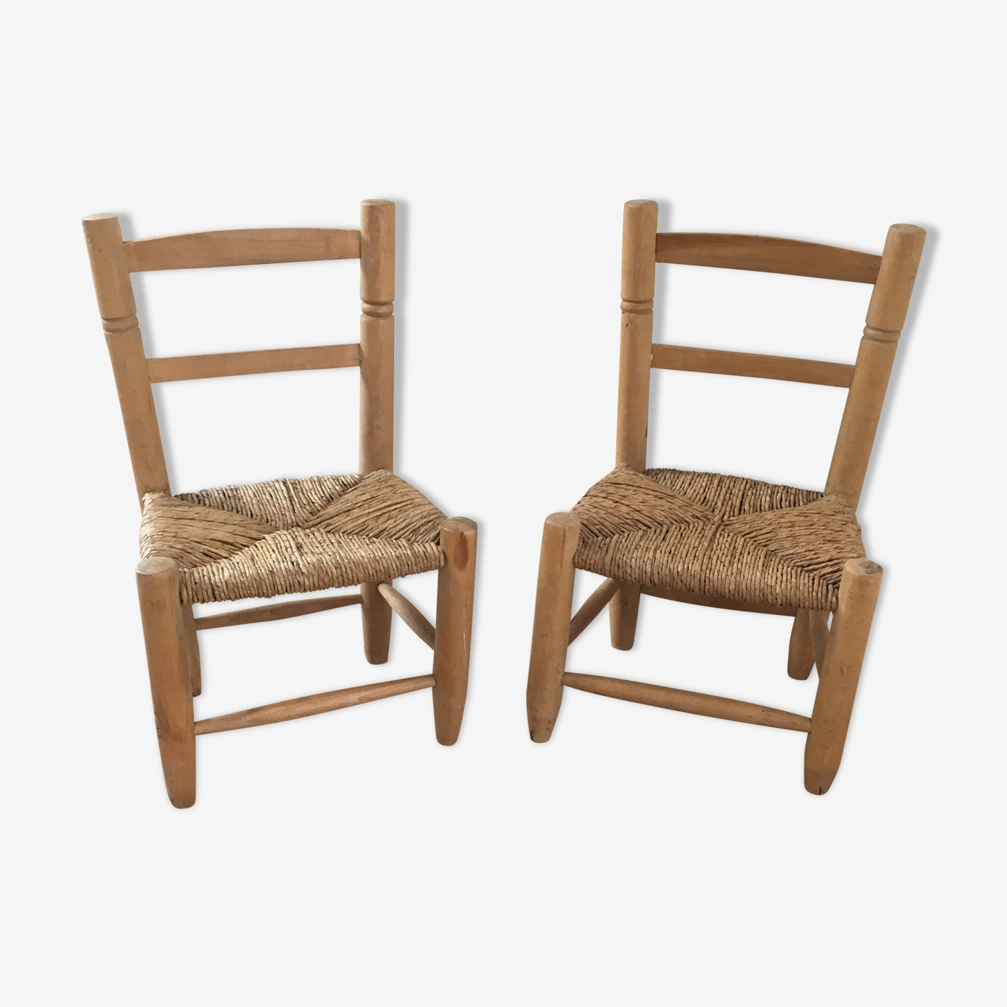 Wood and wicker chairs
