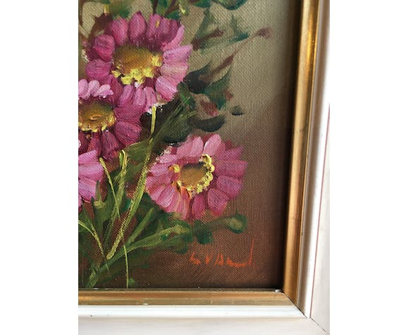 Signed flower bouquet painting