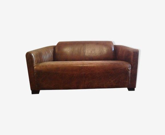 Canapé cuir véritable 2 places