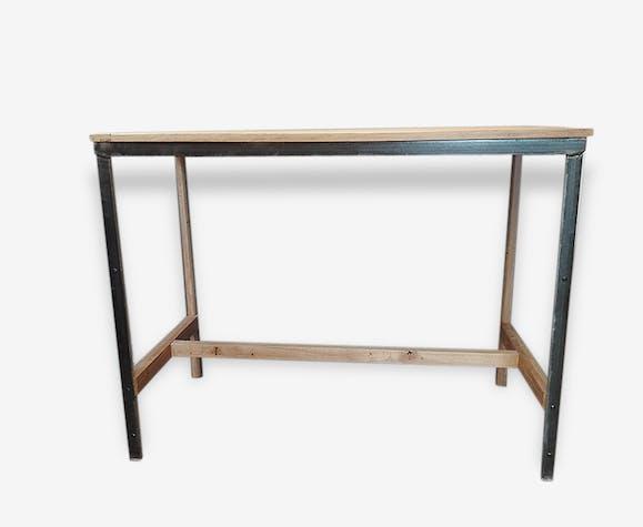 Table Haute Bar Ilot Central Style Industriel Bois