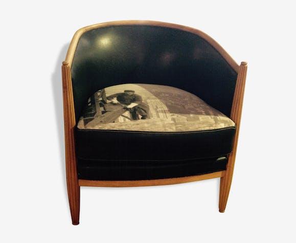 fauteuils tonneau ann es 30 bois mat riau noir art. Black Bedroom Furniture Sets. Home Design Ideas