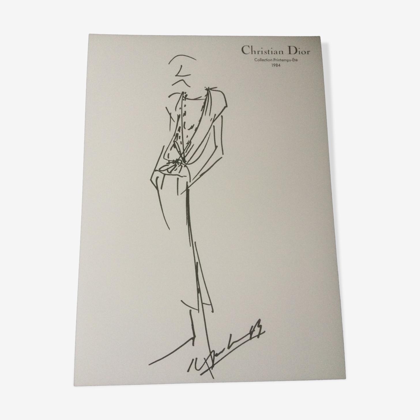 Illustration de mode Christian Dior et photographie  vintage de presse  des années 80