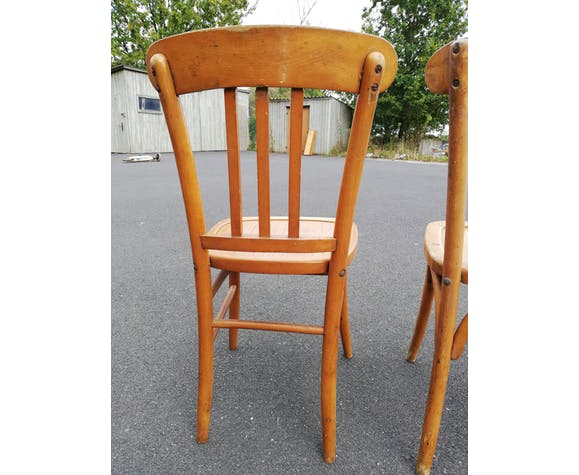 Set de 2 anciennes chaises de bistrot