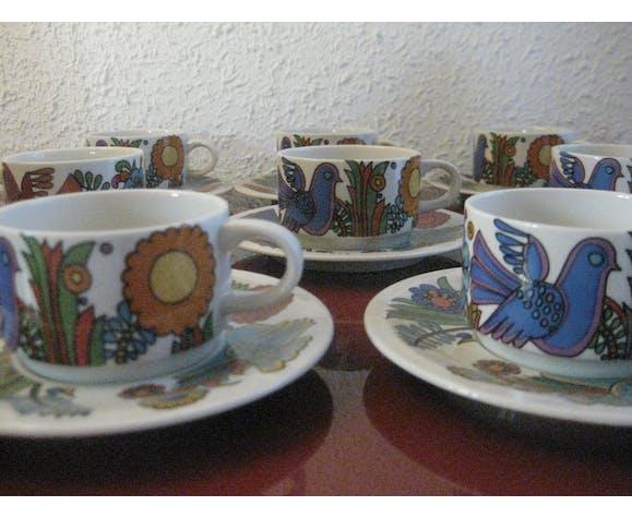 Set de 8 tasses et soucoupes vintage Acapulco Villeroy et Boch