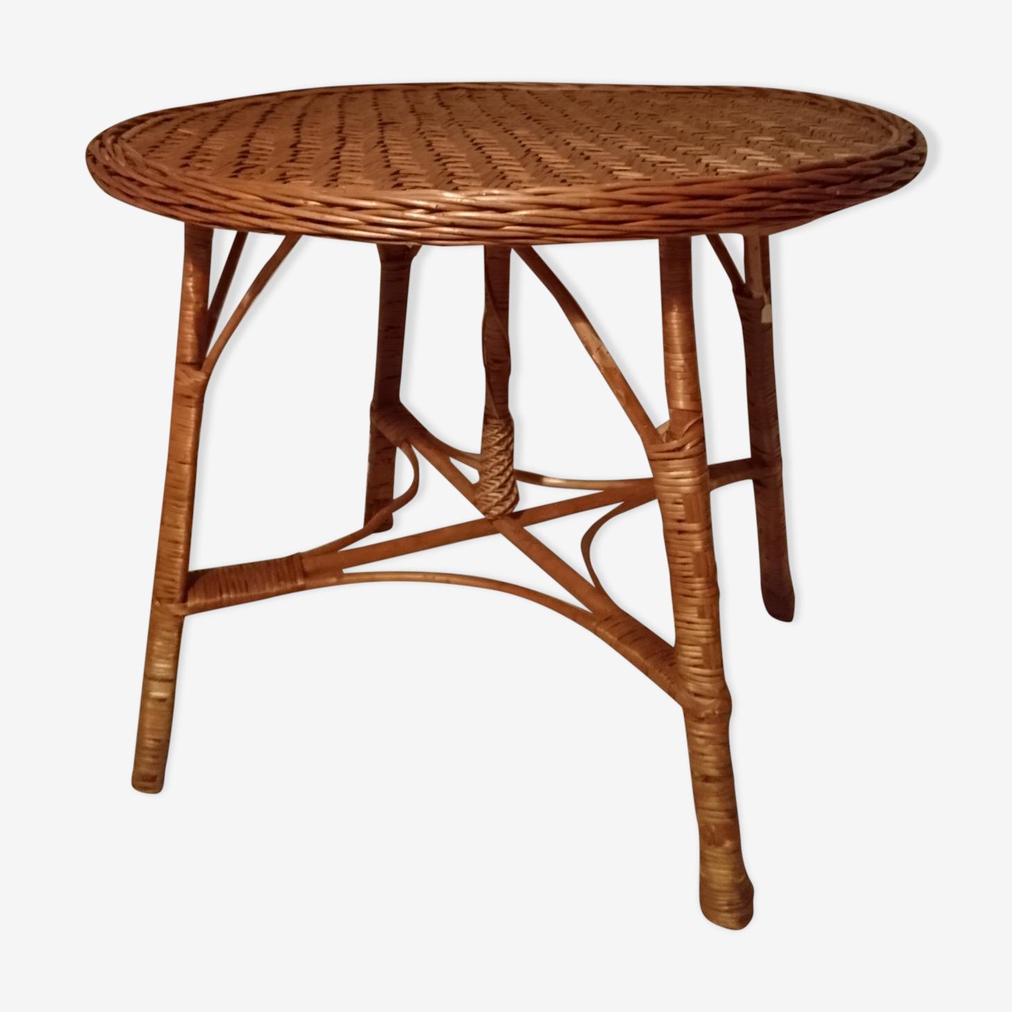 Table ronde 4 couverts en osier