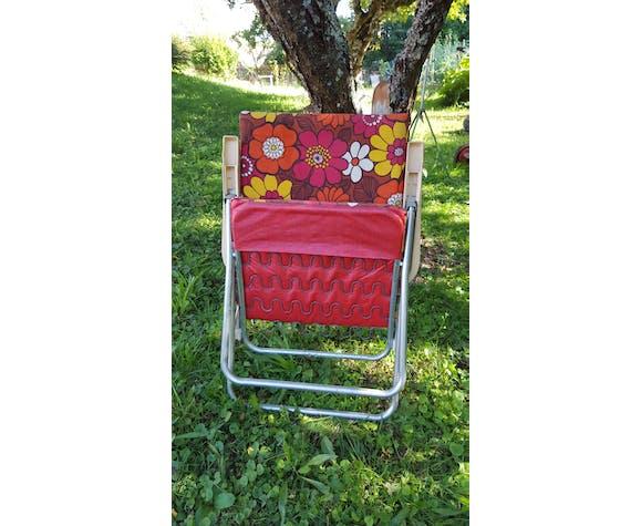 "Chaise longue pliante vintage 70 ""flower power"" kettler"
