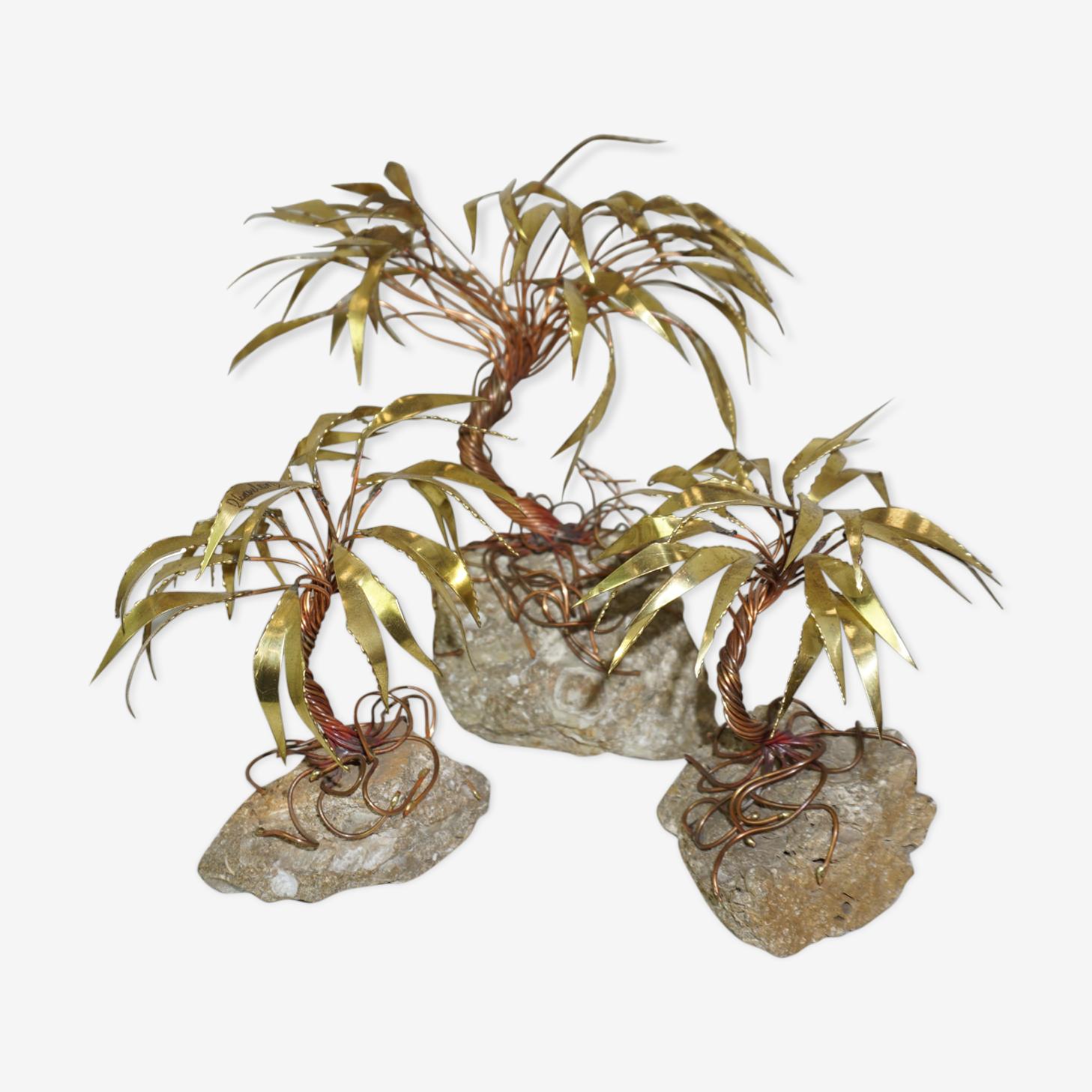 Forêt de palmiers en laiton des années 70 de Daniel d'Haeseleer