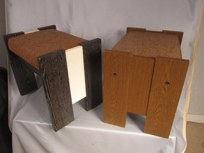 Two 70s chest stools plated with formica