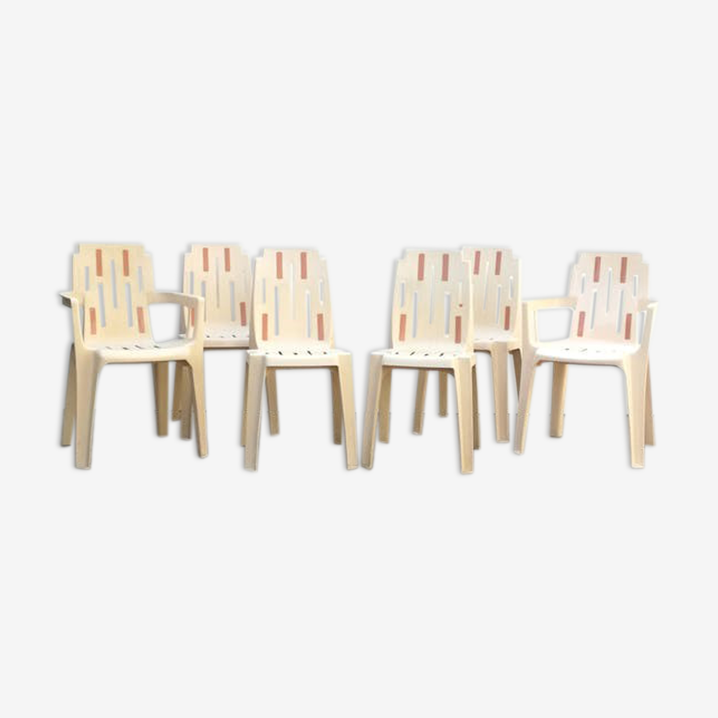 Suite de 4 chaises et 2 fauteuils de jardin Pierre Paulin