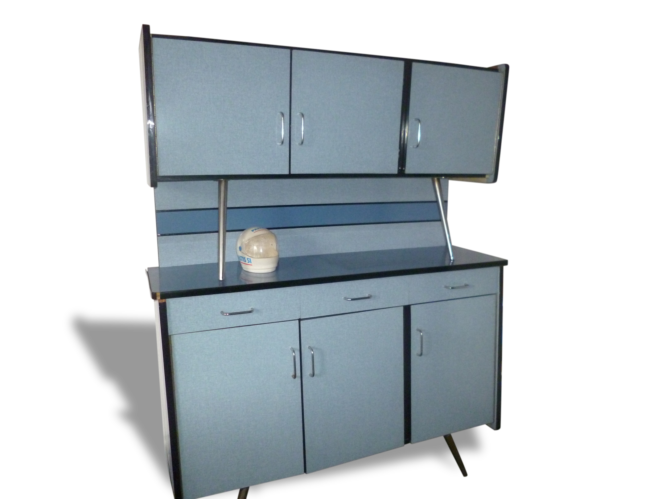 Interesting buffet formica bleu cuisine with meuble for Table de cuisine formica