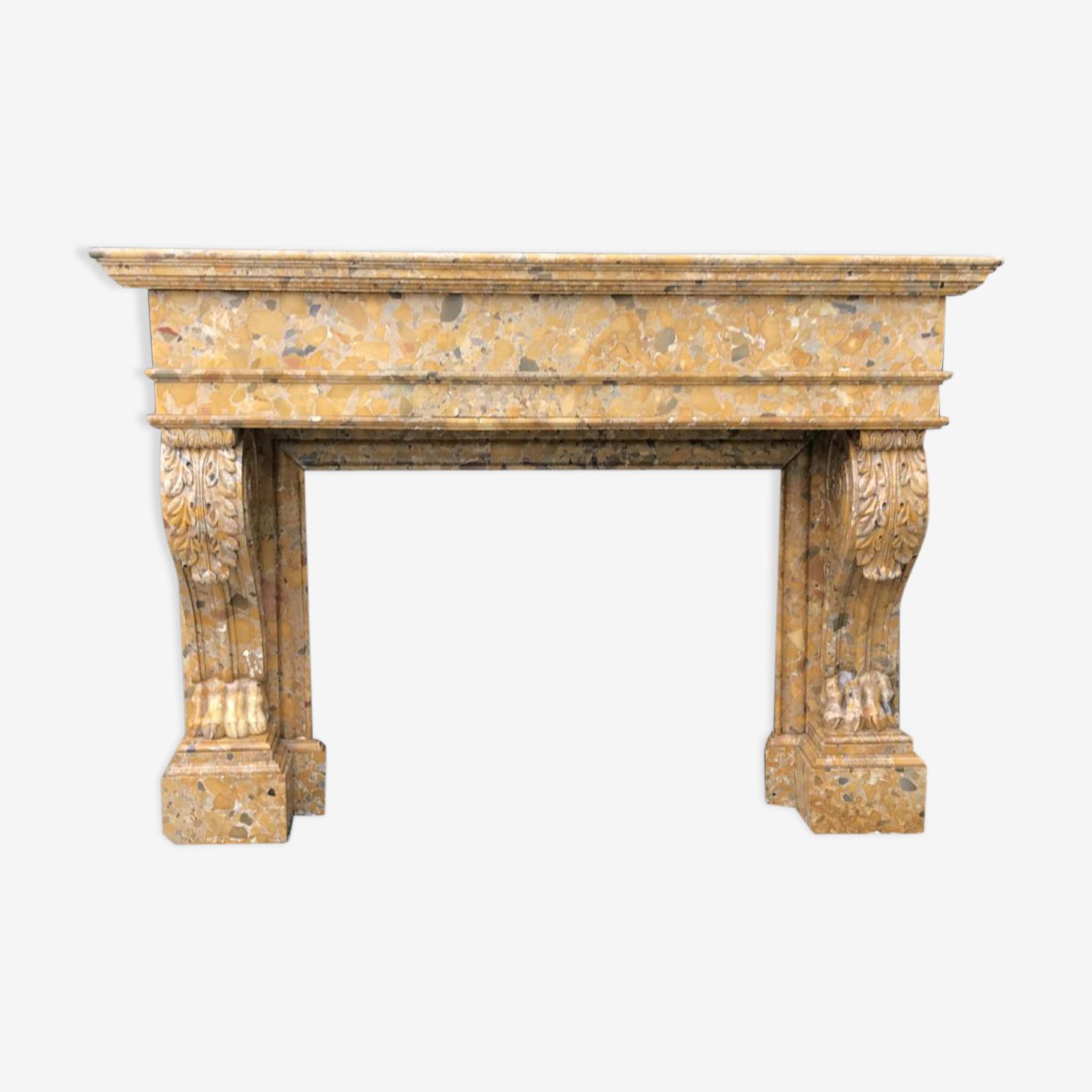 Cheminée en marbre brèche d'Alep XIXème siècle
