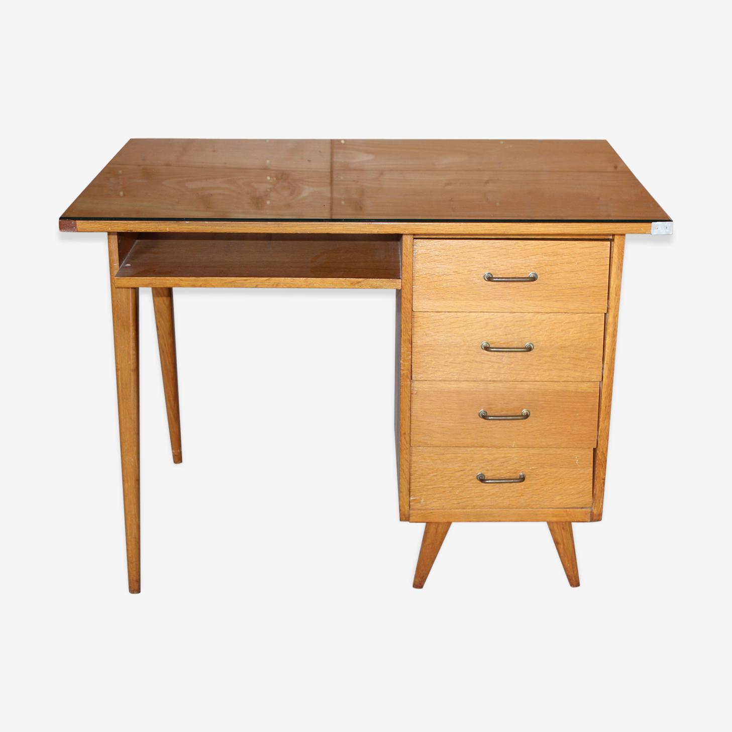 Petit bureau en bois bond 1960 travail français pieds compas