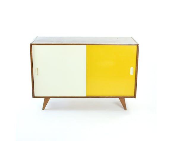 Midcentury sideboard in yellow & cream by Jiri Jiroutek for Nabytek Praha, circa 1960s
