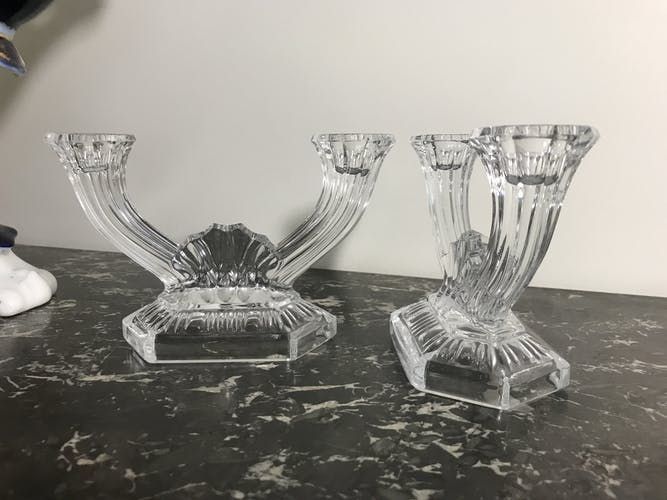 Pair of vintage 1960 glass candlesticks