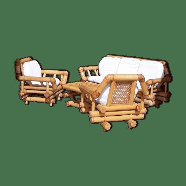 Salon jardin bambou - bois (Matériau) - marron - bon état - vintage -  eyOtrgK