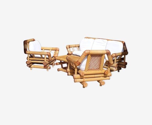 Salon jardin bambou - bois (Matériau) - marron - vintage - eyOtrgK