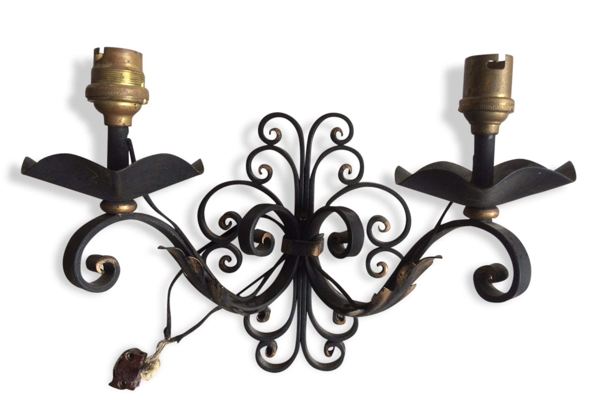 applique murale en fer forgé noir et dorée - métal - noir
