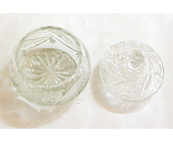 Bonbonnière en cristal taillé mi XXème