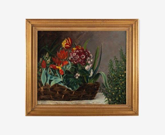 Composition florale au panier signée H. Vaneyck daté 1895