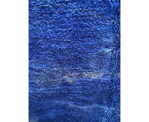 Tapis berbère marocain beni ouarain bleu uni 316x212cm