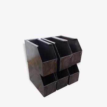 Petit bac metal caisse industriel boite de rangement