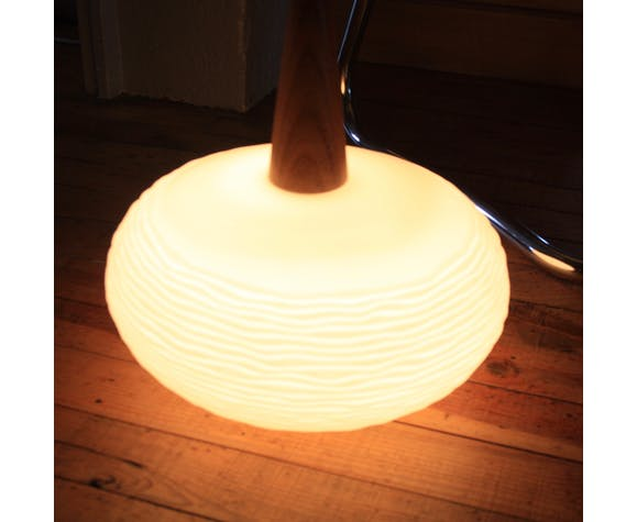 Suspension opaline et teck par Louis Kalff pour Philips