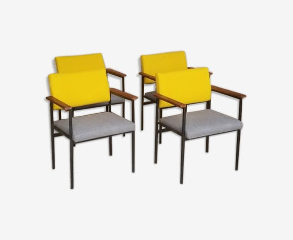 Lot 4 Chairs Metal Grey Yellow Tissue Structure Fabric
