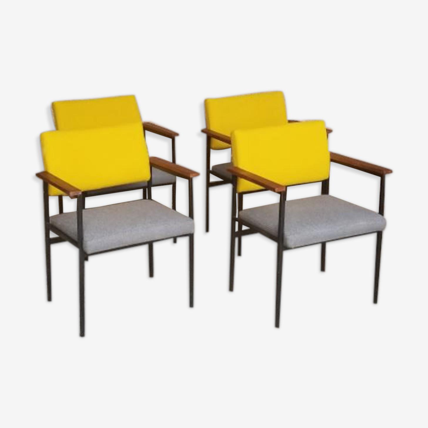 Lot 4 fauteuils, structure métal tissus gris jaune