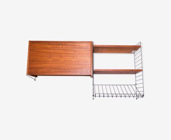 "Recipient teak shelf - magazine holder by Kajsa - Nils ""Nisse"" Strinning for String 1960s"