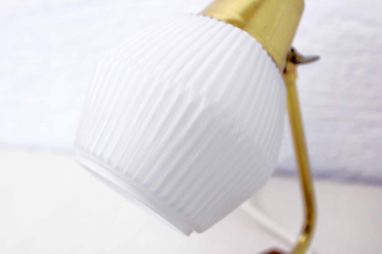 Lampe en teck et laiton