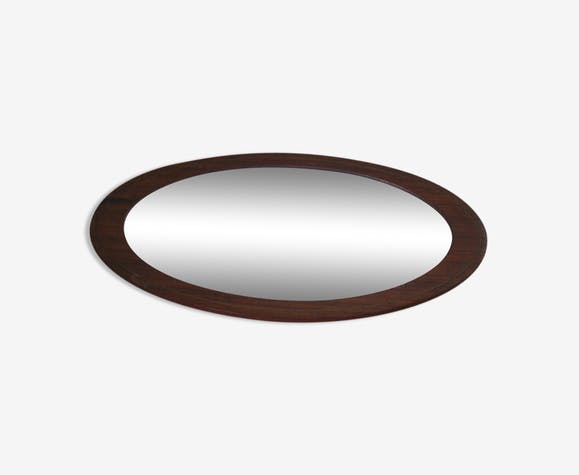 Beveled mirror with oval framing wood 20x43cm - wood - wooden - art ...