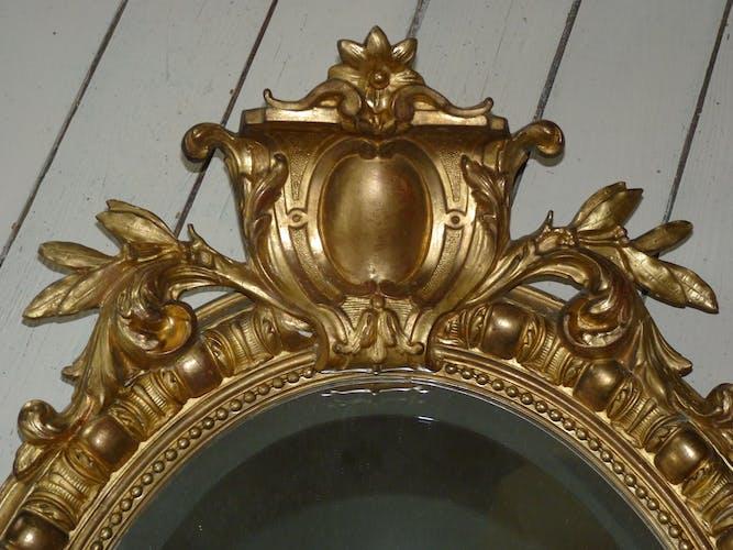 Miroir ovale  bois doré époque XIX ème siècle - 88x59cm