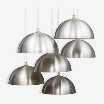6 polished aluminium mid century lamps