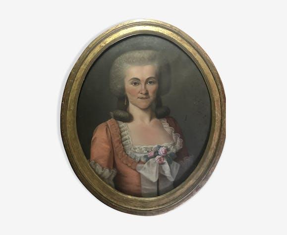 Ancien portrait de femme école française fin XVIIIéme