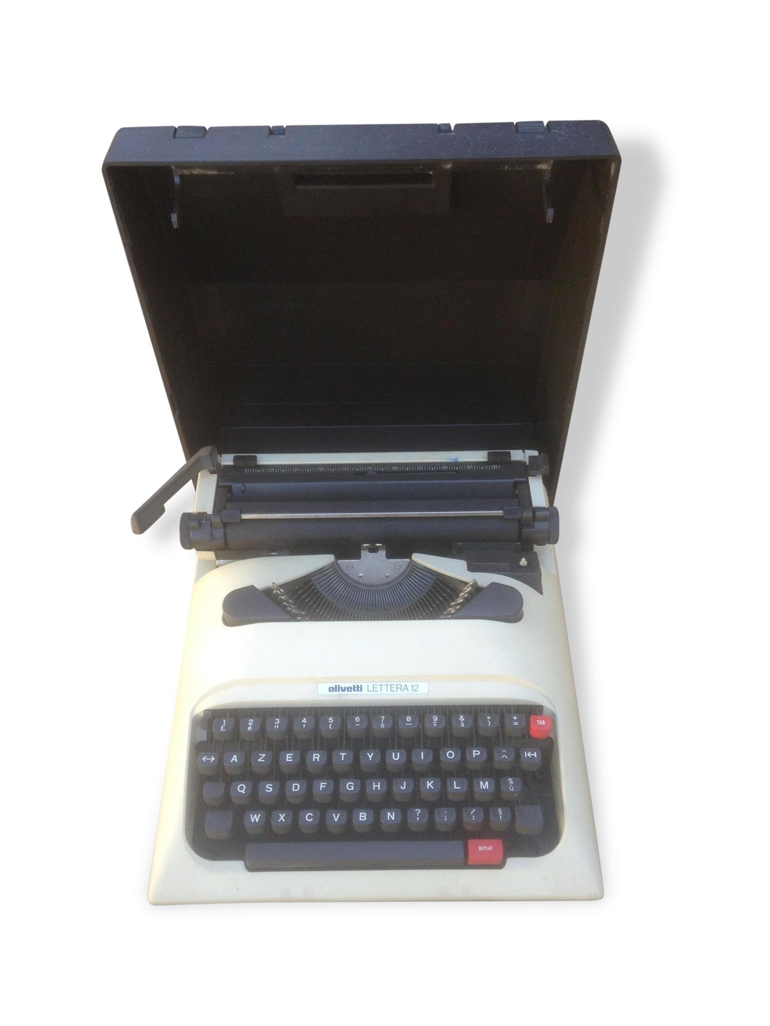 Ancienne Machine à Ecrire OLIVETTI LETTERA 12 Portable Vintage