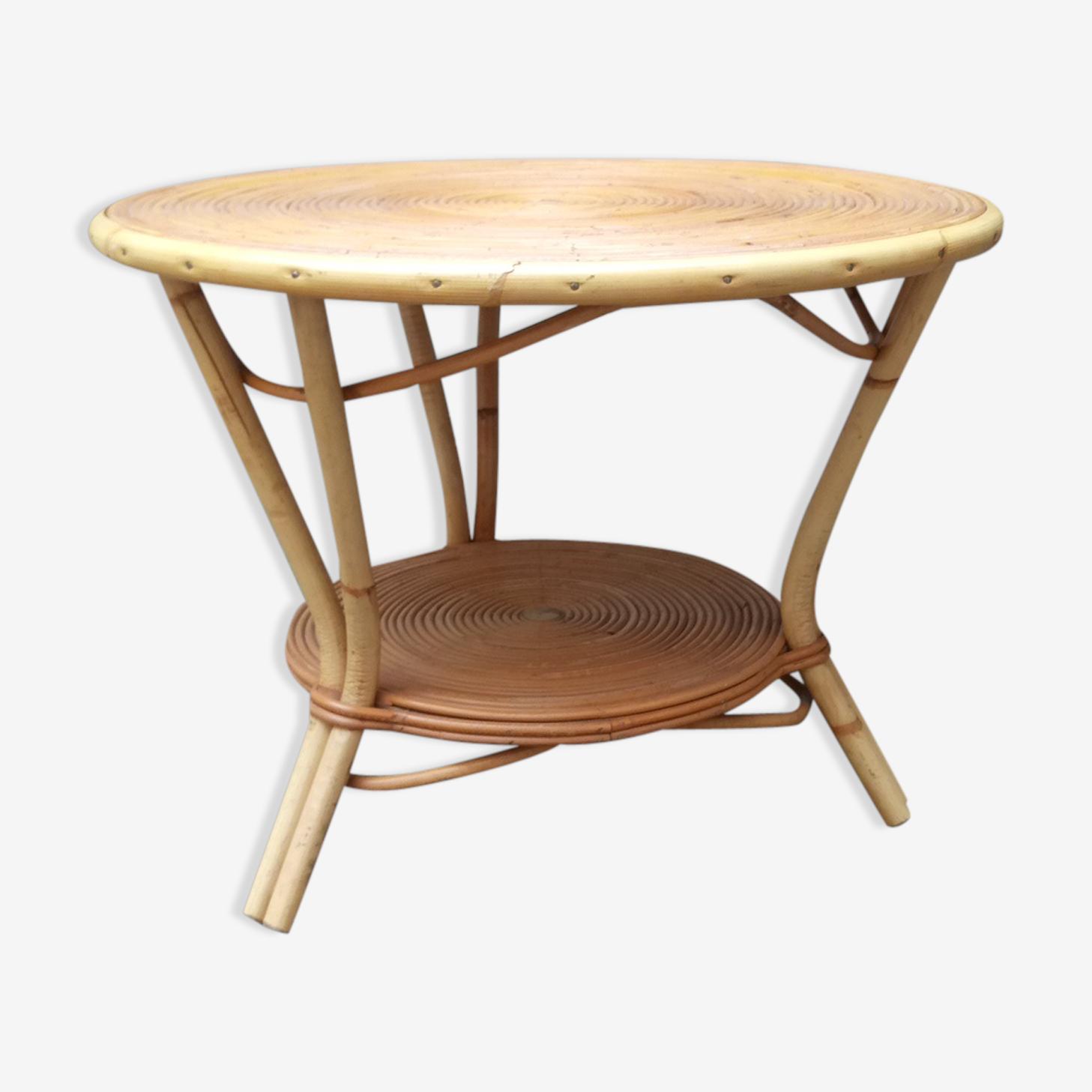 Round vintage rattan low table 1950-1960