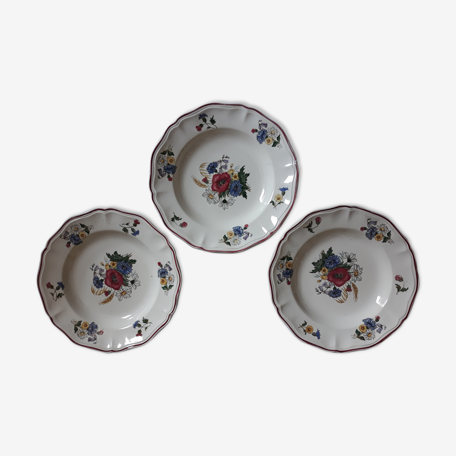 "Set of 3 plates Sarreguemines ""rustic"" flowers of the field"