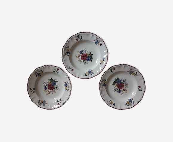 """Set of 3 plates Sarreguemines """"rustic"""" flowers of the field"""