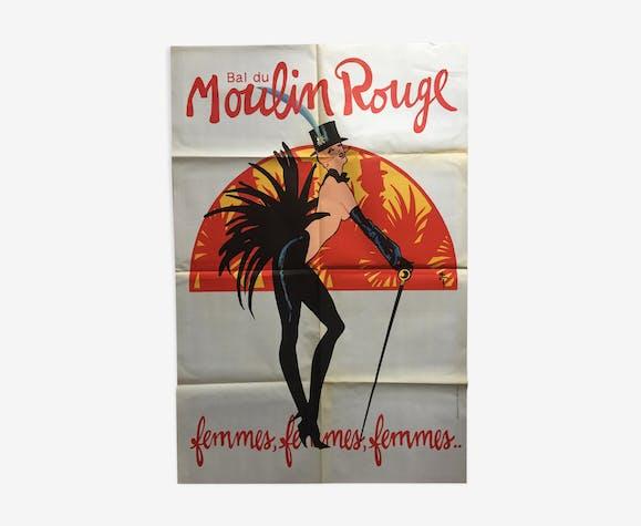 """Affiche originale """"Bal du Moulin rouge"""" René Gruau 80x120cm 1980"""