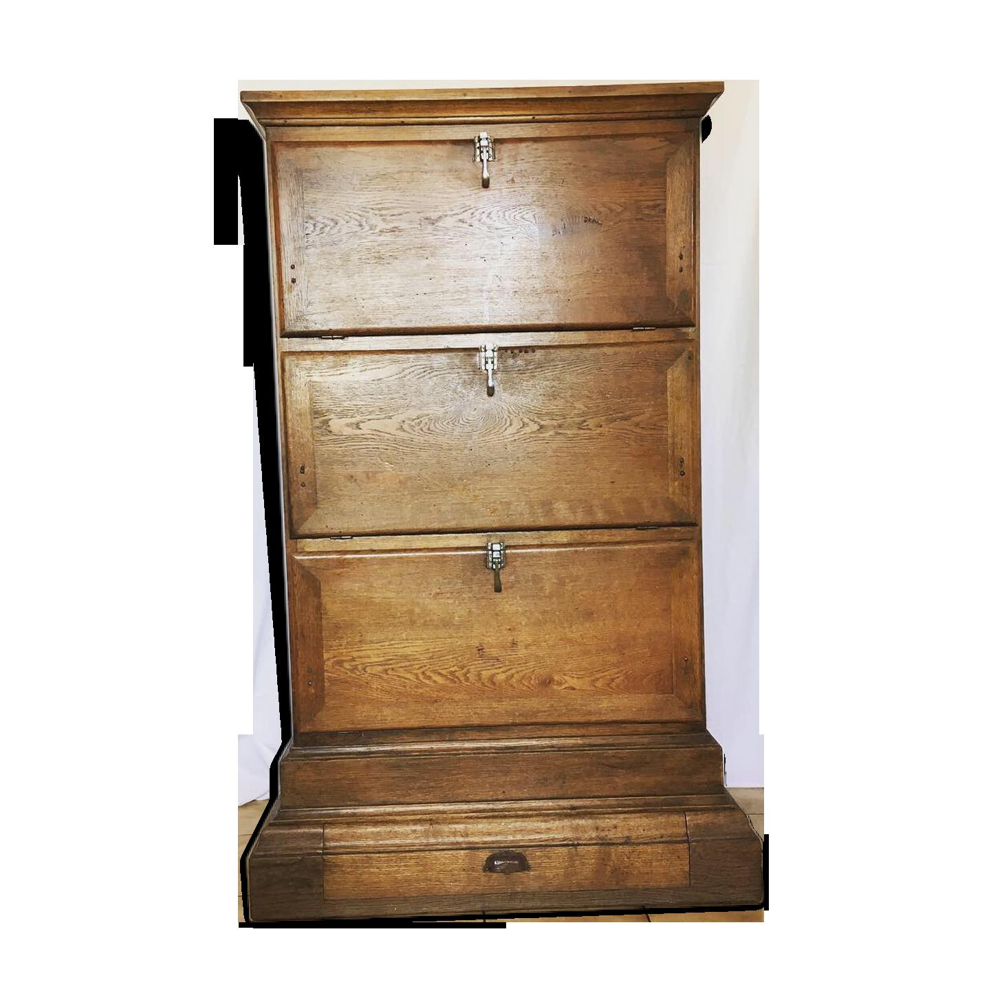 Meuble de notaire à scriban et casiers de bureau en chêne bois